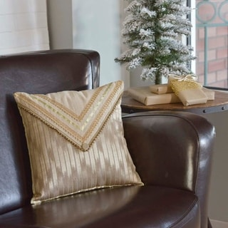 Tan Glam Holiday Decor VHC Celebrate 16x16 Pillow Polyester Modern Appliqued Beaded Trim Chambray