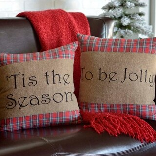 Red Rustic Holiday Decor VHC Gavin 16x16 Pillow Set of 2 Cotton Text Appliqued (Pillow Cover, Pillow Insert)