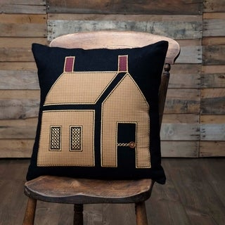 Black Primitive Bedding VHC Heritage Farms Primitive House 18x18 Pillow Felt Graphic-Print Appliqued Buttons