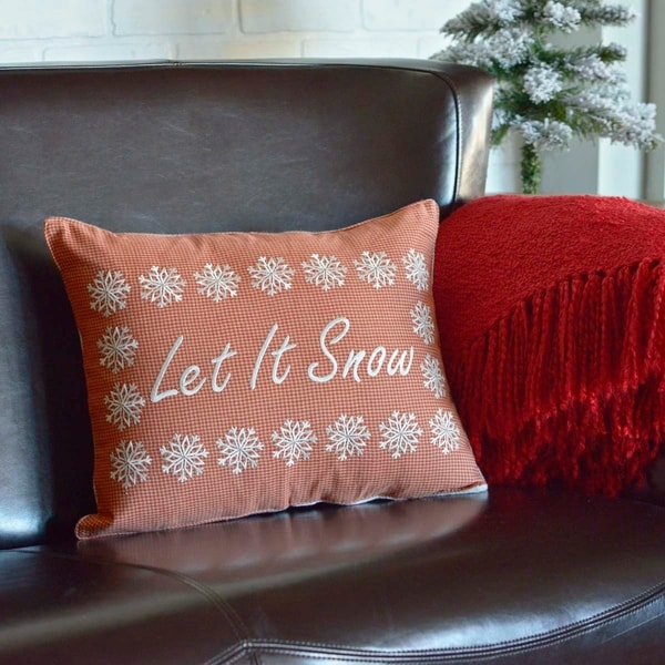 Red Farmhouse Holiday Decor VHC Let It Snow 14x18 Pillow Cotton Text Embroidered (Pillow Cover, Pillow Insert)