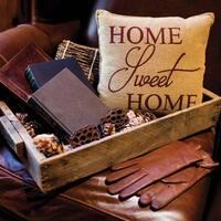 Tan Farmhouse Decor VHC Home Sweet Home 12x12 Pillow Cotton Text Stenciled Cotton Burlap