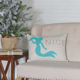 Blue Coastal Christmas Holiday Decor VHC Nerine Mermaid 14x18 Pillow Cotton Nautical Appliqued Rope Seersucker