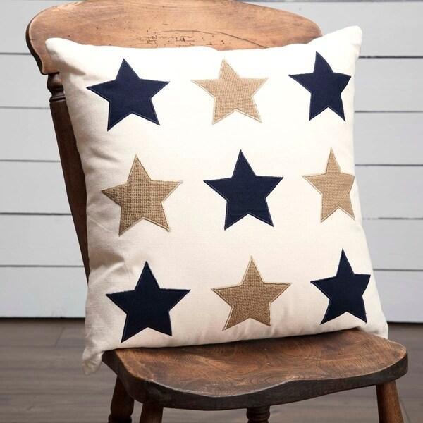 "Navy and Burlap Star Applique 18"" x 18"" Pillow"