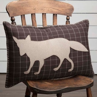 Brown Rustic Bedding VHC Wyatt Fox 14x22 Pillow Cotton Nature Print Appliqued Chambray (Pillow Cover, Pillow Insert)