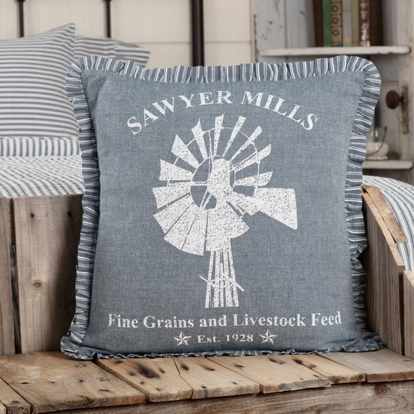 """New Farmhouse Shabby Chic Sawyer Mills COW CATTLE FEED SACK PILLOW Accent 18/"""""""