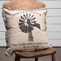 Farmhouse Bedding Miller Farm Windmill 18x18 Pillow Cotton Graphic/Print Stenciled Chambray (Pillow Cover, Pillow Insert) Square