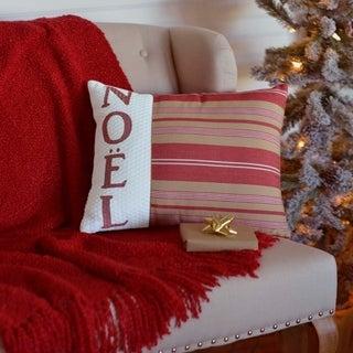 Red Farmhouse Holiday Decor VHC Vintage Stripe Noel 14x18 Pillow Cotton Text Embroidered Metallic Ribbon