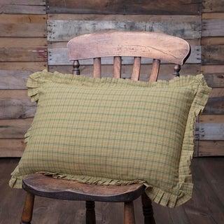 Green Primitive Bedding VHC Tea Star 14x22 Pillow Cotton Plaid (Pillow Cover, Pillow Insert)