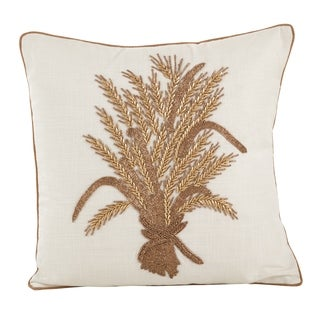 Beaded Thanksgiving Harvest Design Accent Throw Pillow
