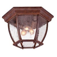 Acclaim Lighting Flushmount Collection Ceiling-Mount 3-Light Outdoor Burled Walnut Light Fixture with clear seeded glass