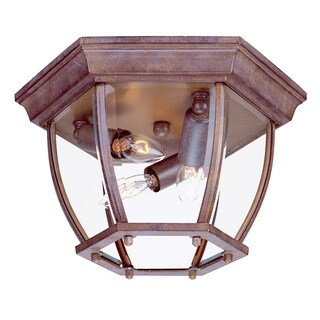 Acclaim Lighting Flushmount Collection Ceiling-Mount 3-Light Outdoor Burled Walnut Light Fixture with clear beveled glass