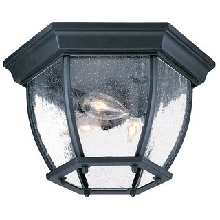 Acclaim Lighting Flushmount Collection Ceiling-Mount 3-Light Outdoor Matte Black Light Fixture with clear seeded glass