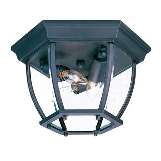 Acclaim Lighting Flushmount Collection Ceiling-Mount 3-Light Outdoor Matte Black Light Fixture with clear beveled glass