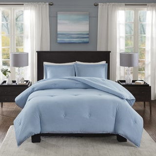 Madison Park Essentials Bradley Blue Yarn-Dyed Heather Weave Microfiber Down Alternative Comforter Mini Set