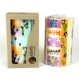Hand Painted Candle - Single in Box - Imbali Design (South Africa)