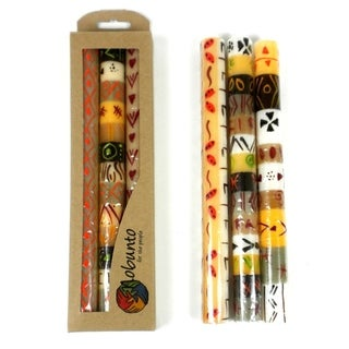 Tall Hand Painted Candles - Three in Box - Akono Design (South Africa)