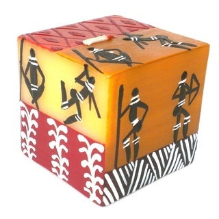 Hand Painted Candle - Cube - Damsi Design (South Africa)