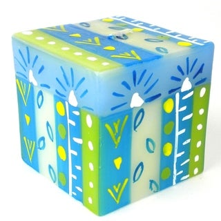 Hand Painted Candle - Cube - Ihlobo (South Africa)
