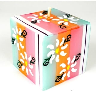 Hand Painted Candle - Cube - Imbali Design (South Africa)