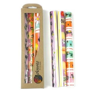 Tall Hand Painted Candles - Three in Box - Imbali Design (South Africa)