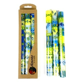 Tall Hand Painted Candles - Three in Box - Ihlobo Design (South Africa)
