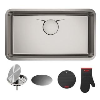 Dex 33-inch Undermount Single Bowl T304Plus TRU16-Gauge Stainless Steel Kitchen Sink
