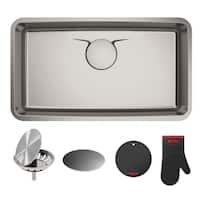 Dex 33-inch Undermount Single Bowl T304Plus TRU16-Gauge Stainless Steel Kitchen Sink - Silver