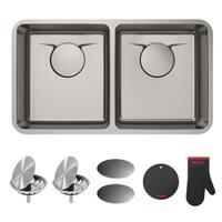 Kraus KD1UD33B Dex Undermount 33-in T304Plus TRU16G 50/50 2-Bowl Stainless Steel Kitchen Sink,Strainers,Caps,Mitt,Trivet