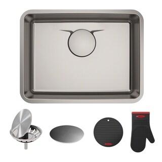 Kraus KD1US25B Dex Undermount 25-inch T304Plus TRU16 gauge Single Bowl Satin Stainless Steel Kitchen Sink