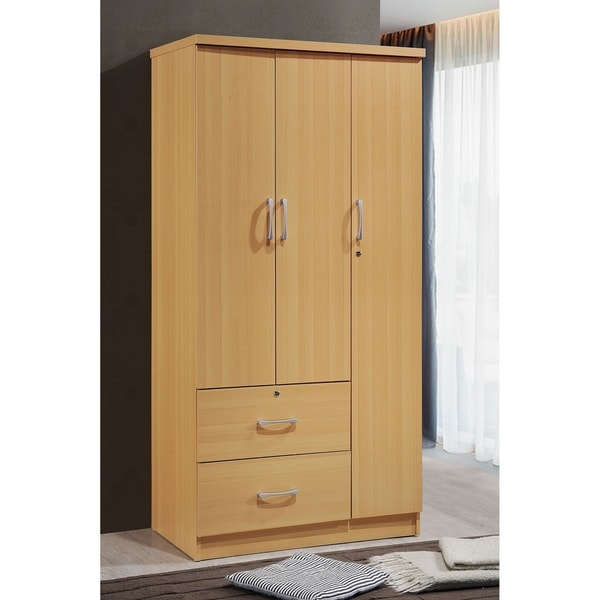 Hodedah 3 Door 36 In. Wide Armoire With 2 Drawers, Clothing Rod