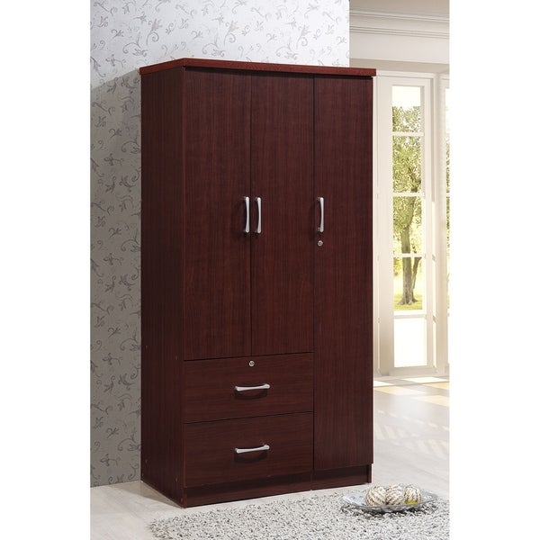 Wide Armoire With 2 Drawers Clothing Rod