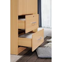 Hodedah 3-Door 36 in. Wide Armoire with 2-Drawers, Clothing Rod and 3-Shelves