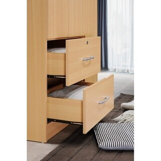 Charmant Wide Armoire With 2 Drawers, Clothing Rod