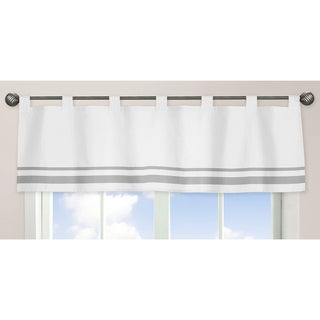 Sweet Jojo Designs White and Gray Hotel Collection Window Curtain Valance (As Is Item)