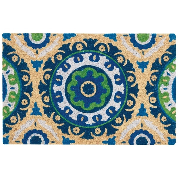 """Waverly Greetings """"Solar Flair"""" Navy Doormat by Nourison (2' x 3') - 1'6 x 2'4"""