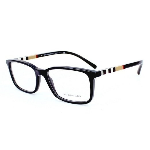 fd38766b0df Shop Burberry Men s BE2199 3001 55 Black Rectangle Plastic Eyeglasses -  Free Shipping Today - Overstock - 17961309