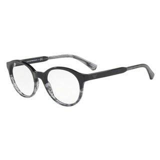 Emporio Armani Men's EA3122F 5566 51 Black/Tr Striped Grey Round Plastic Eyeglasses