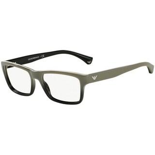 Emporio Armani Men's EA3050 5346 53 White Gradient Black On Black Rectangle Plastic Eyeglasses