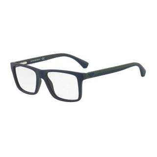 Emporio Armani Men's EA3034 5615 55 Top Blue On Green Rubber Square Plastic Eyeglasses