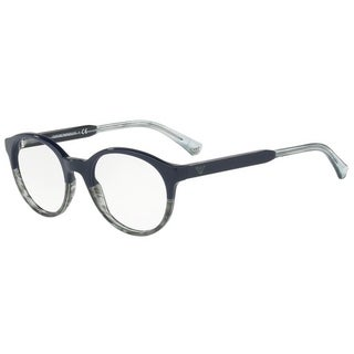 Emporio Armani Men's EA3122 5572 51 Blue/Tr Striped Green Round Plastic Eyeglasses