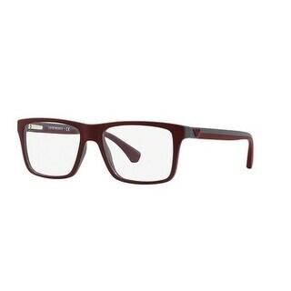 Emporio Armani Men's EA3034 5616 53 Top Bordeaux On Dk Grey Rubber Square Plastic Eyeglasses