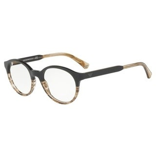 Emporio Armani Men's EA3122F 5567 51 Brown/Tr Striped Beige Round Plastic Eyeglasses
