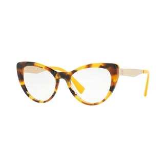 Versace Women's VE3244 5242 51 Havana/Yellow Cateye Plastic Eyeglasses