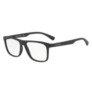 Emporio Armani Men's EA3117 5063 55 Black Rubber Rectangle Plastic Eyeglasses