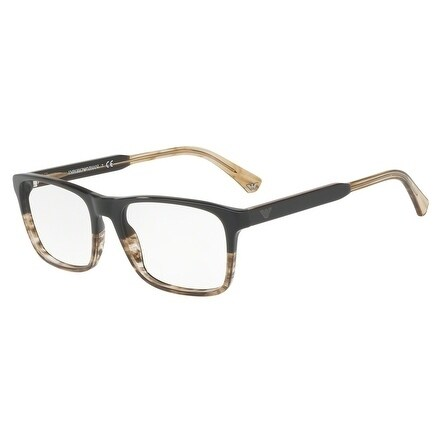 d52ec6ded17 Shop Emporio Armani Men s EA3120 5567 55 Brown Tr Striped Beige Rectangle  Plastic Eyeglasses - Free Shipping Today - Overstock.com - 17962524