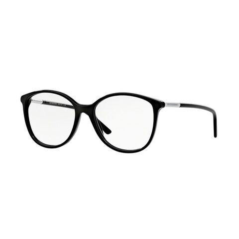 Burberry Women's BE2128 3001 52 Black Rectangle Plastic Eyeglasses