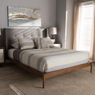 studio bedroom furniture. Mid-Century Grey Fabric Platform Bed By Baxton Studio Bedroom Furniture