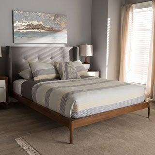 Mid-Century Grey Fabric Platform Bed by Baxton Studio
