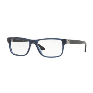 Versace Men's VE3211 5111 55 Transparent Blue Rectangle Plastic Eyeglasses