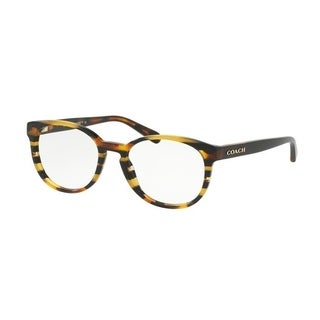 Coach Women's HC6102 5440 51 Blk Amber Gltr Varsity Stripe Rectangle Plastic Eyeglasses
